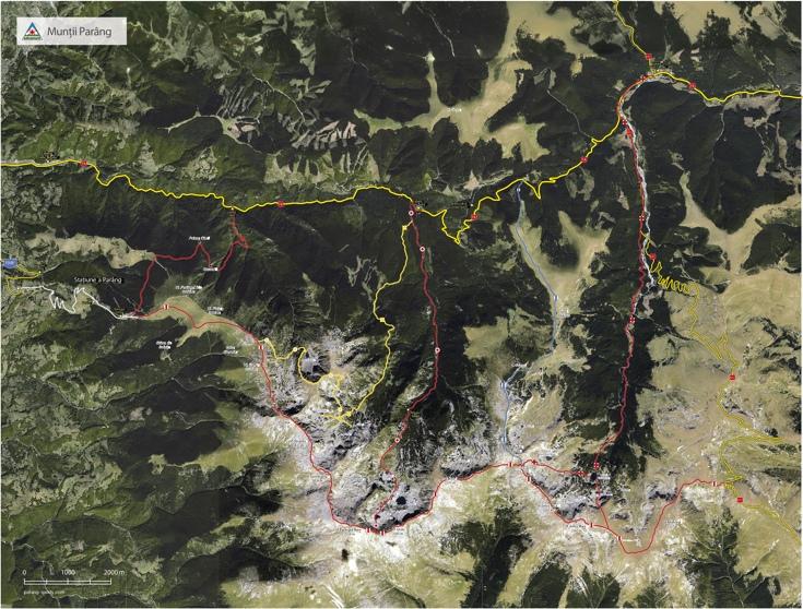 Harta trasee turistice Parang